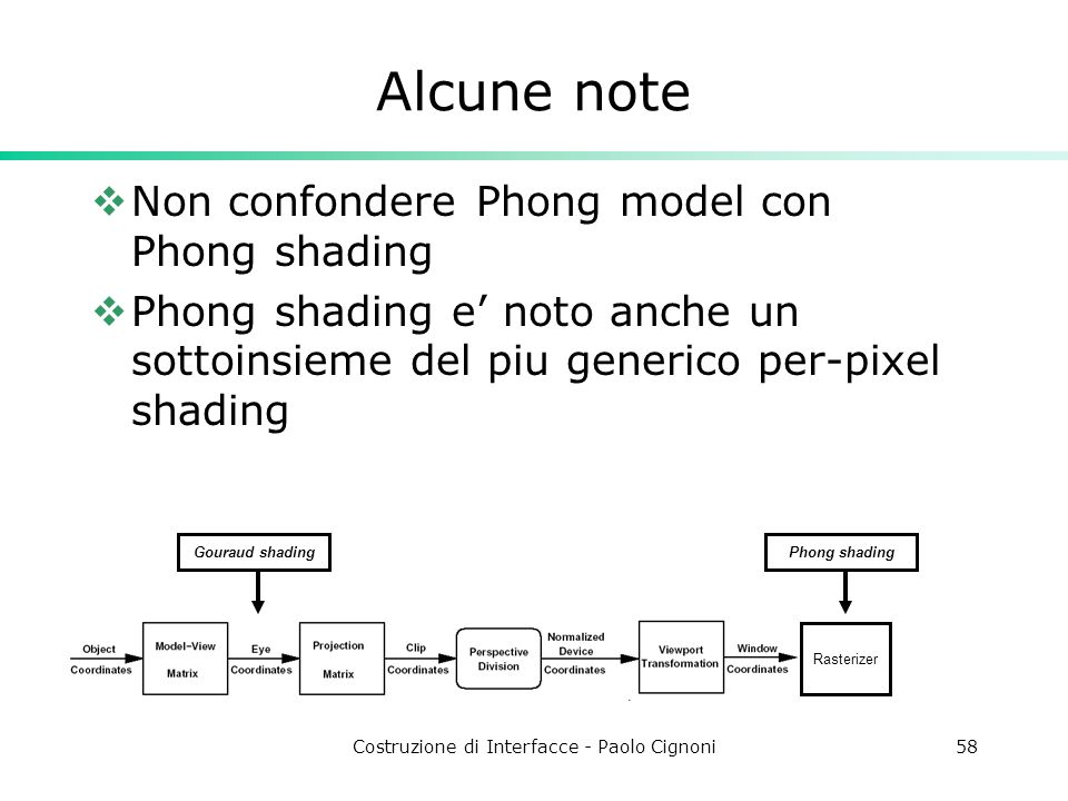 Costruzione di Interfacce - Paolo Cignoni58 Alcune note Non confondere Phong model con Phong shading Phong shading e noto anche un sottoinsieme del pi