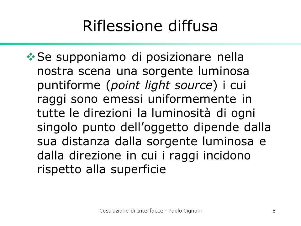 Costruzione di Interfacce - Paolo Cignoni8 Riflessione diffusa Se supponiamo di posizionare nella nostra scena una sorgente luminosa puntiforme (point