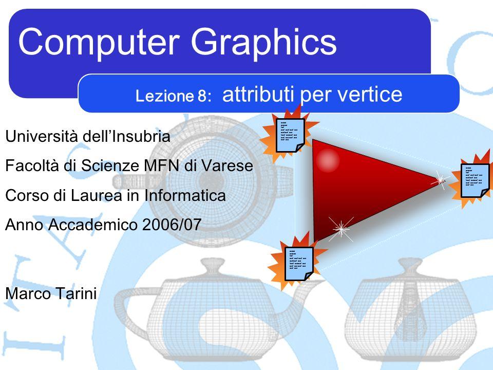 Computer Graphics Marco Tarini Università dellInsubria Facoltà di Scienze MFN di Varese Corso di Laurea in Informatica Anno Accademico 2006/07 Lezione 8: attributi per vertice asdad asdsad fadf asdf asdf asdf asd asdfasdf asd fasdf asdasdf asd asdf asd asdad asdsad fadf asdf asdf asdf asd asdfasdf asd fasdf asdasdf asd asdf asd asdad asdsad fadf asdf asdf asdf asd asdfasdf asd fasdf asdasdf asd asdf asd