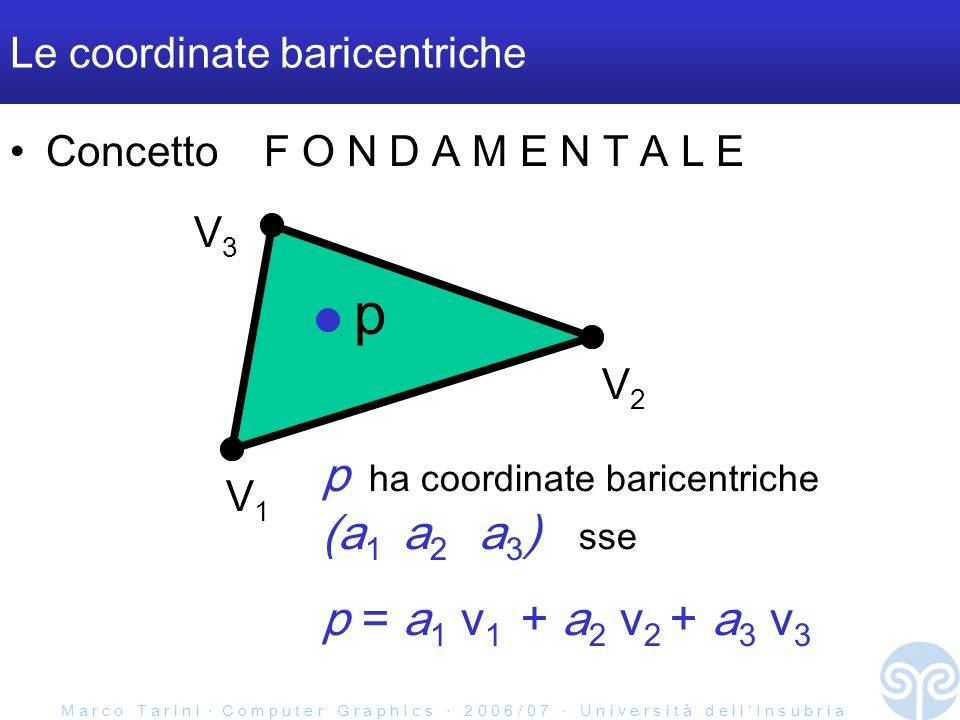 M a r c o T a r i n i C o m p u t e r G r a p h I c s 2 0 0 6 / 0 7 U n i v e r s i t à d e l l I n s u b r i a Le coordinate baricentriche Concetto F O N D A M E N T A L E V1V1 V2V2 V3V3 p p ha coordinate baricentriche (a 1 a 2 a 3 ) sse p = a 1 v 1 + a 2 v 2 + a 3 v 3
