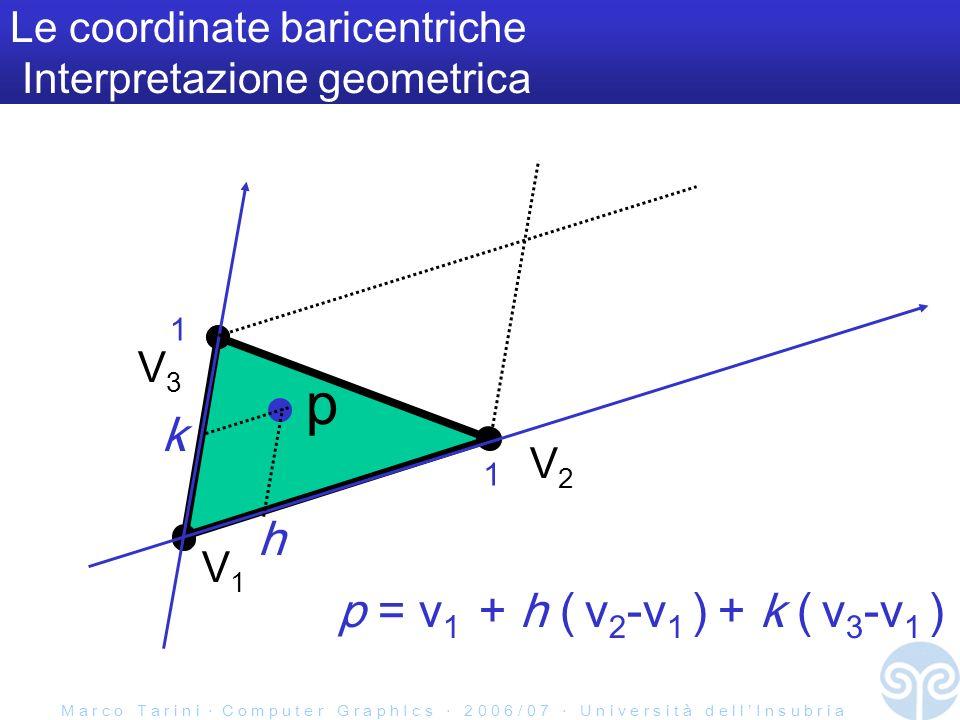 M a r c o T a r i n i C o m p u t e r G r a p h I c s 2 0 0 6 / 0 7 U n i v e r s i t à d e l l I n s u b r i a Le coordinate baricentriche Interpreta