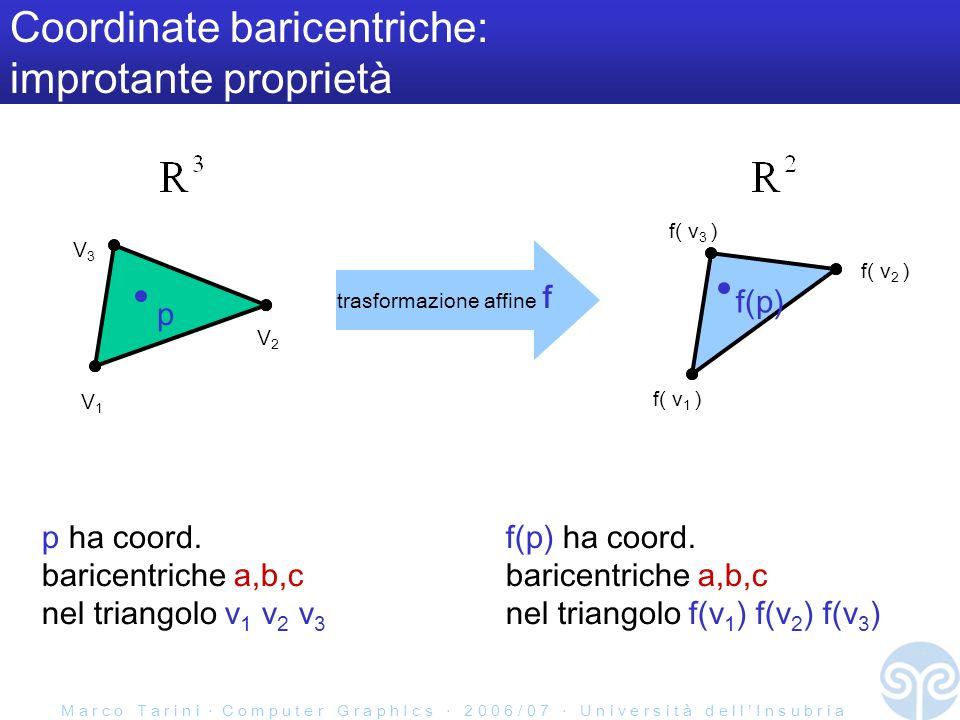 M a r c o T a r i n i C o m p u t e r G r a p h I c s 2 0 0 6 / 0 7 U n i v e r s i t à d e l l I n s u b r i a Coordinate baricentriche: improtante proprietà V1V1 V2V2 V3V3 p f(p) f( v 1 ) f( v 2 ) f( v 3 ) trasformazione affine f p ha coord.