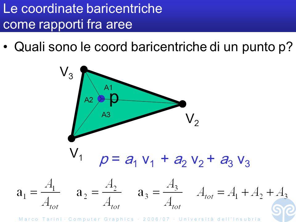M a r c o T a r i n i C o m p u t e r G r a p h I c s 2 0 0 6 / 0 7 U n i v e r s i t à d e l l I n s u b r i a Le coordinate baricentriche come rapporti fra aree Quali sono le coord baricentriche di un punto p.