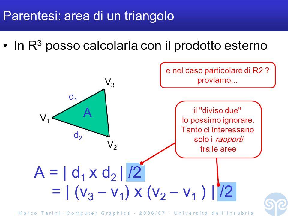 M a r c o T a r i n i C o m p u t e r G r a p h I c s 2 0 0 6 / 0 7 U n i v e r s i t à d e l l I n s u b r i a il diviso due lo possimo ignorare.