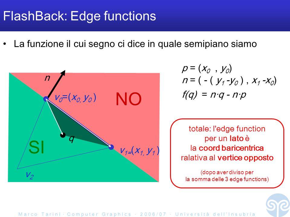M a r c o T a r i n i C o m p u t e r G r a p h I c s 2 0 0 6 / 0 7 U n i v e r s i t à d e l l I n s u b r i a FlashBack: Edge functions SI NO La funzione il cui segno ci dice in quale semipiano siamo n q v 0 =(x 0, y 0 ) v 1= (x 1, y 1 ) n = ( - ( y 1 -y 0 ), x 1 -x 0 ) p = (x 0, y 0 ) f(q) = nq - np v2v2 totale: l edge function per un lato è la coord baricentrica ralativa al vertice opposto (dopo aver diviso per la somma delle 3 edge functions)
