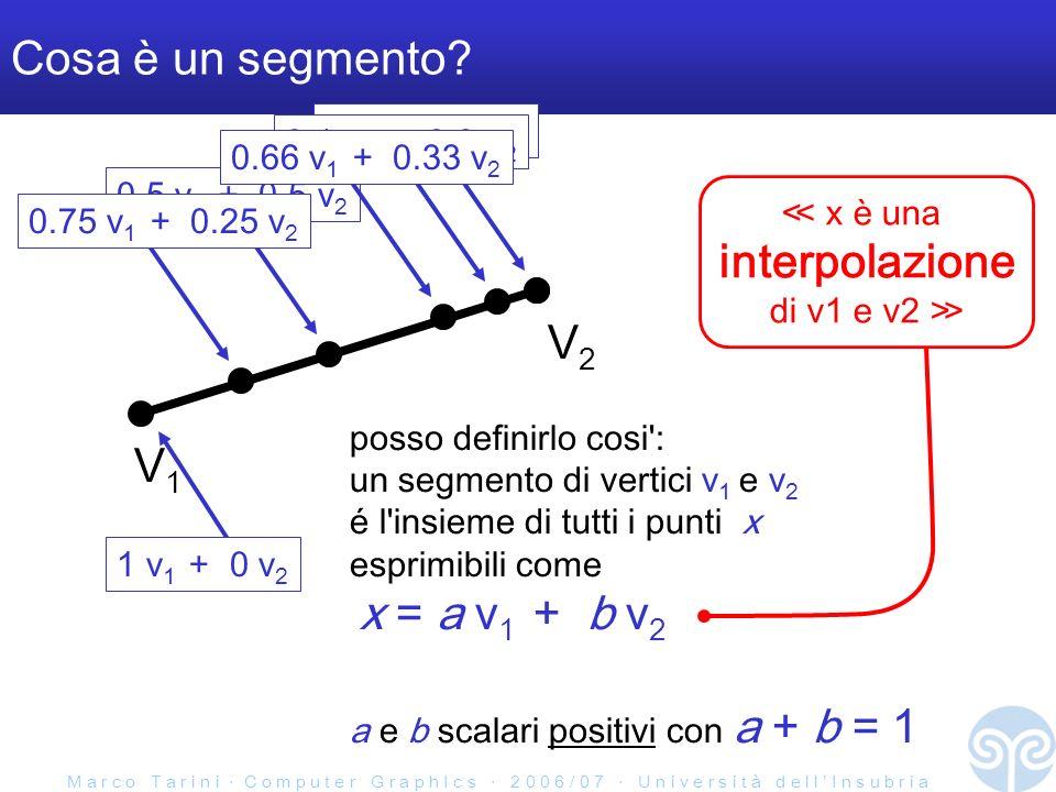 M a r c o T a r i n i C o m p u t e r G r a p h I c s 2 0 0 6 / 0 7 U n i v e r s i t à d e l l I n s u b r i a Parentesi notazione V1V1 V2V2 x = a v 1 + b v 2 a e b scalari positivi con a + b = 1 x interpolazione: V1V1 V2V2 x = a v 1 + b v 2 a e b scalari positivi con a + b = 1 x estrapolazione: (quindi 0 a 1 e 0 b 1 )