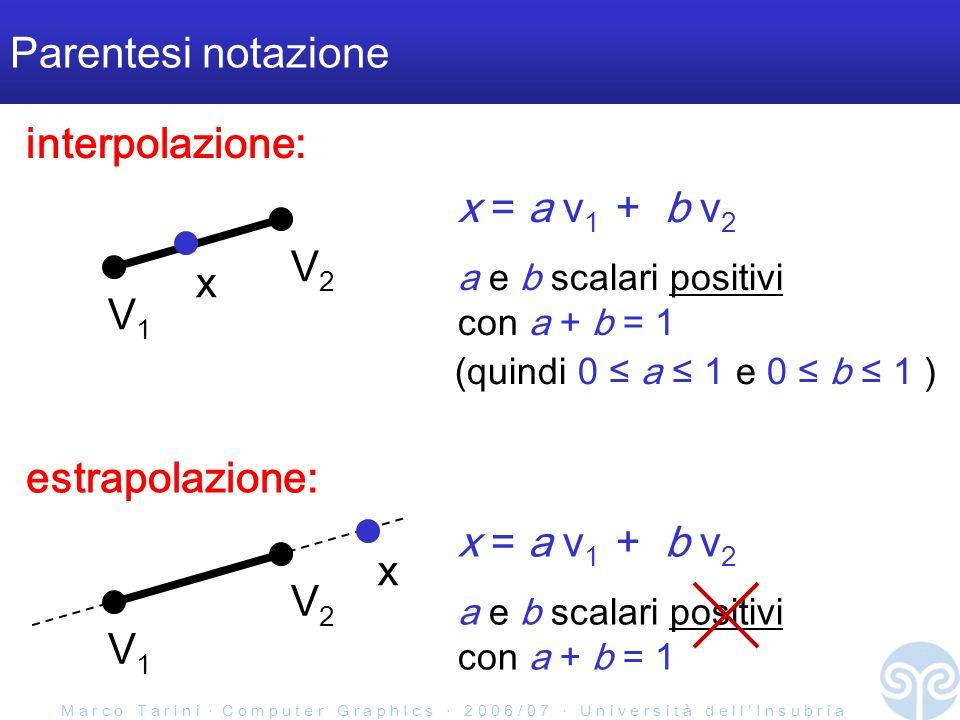 M a r c o T a r i n i C o m p u t e r G r a p h I c s 2 0 0 6 / 0 7 U n i v e r s i t à d e l l I n s u b r i a Parentesi notazione V1V1 V2V2 x = a v