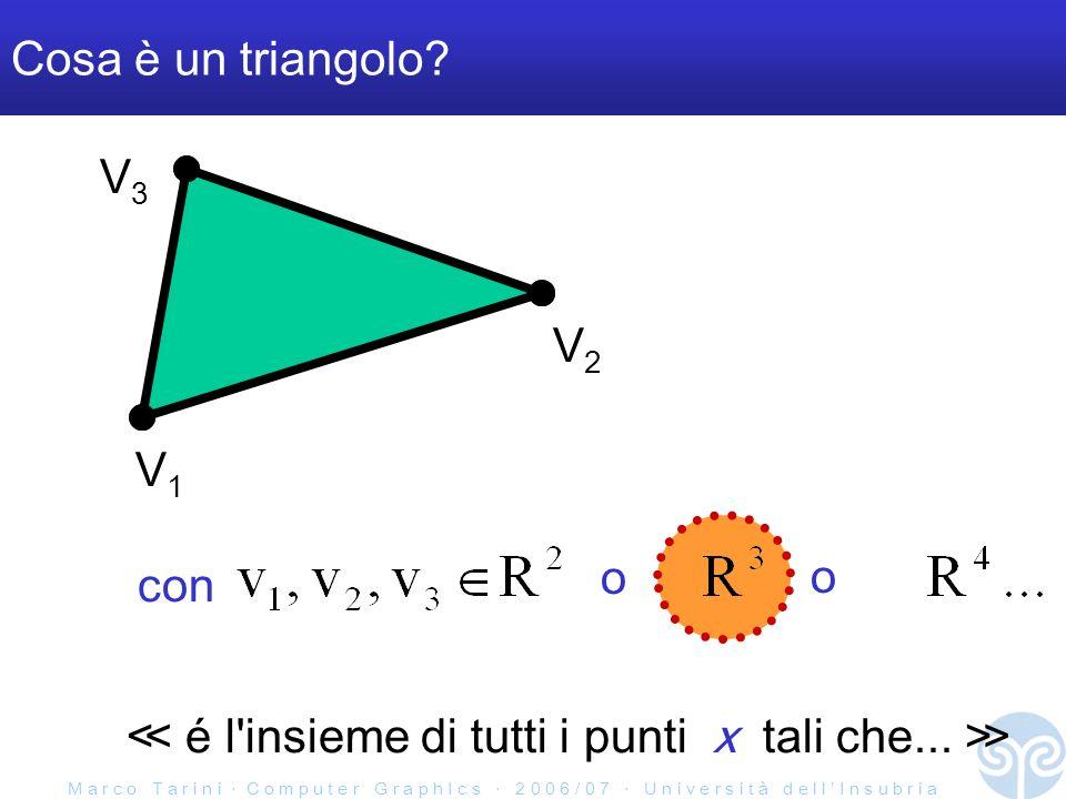 M a r c o T a r i n i C o m p u t e r G r a p h I c s 2 0 0 6 / 0 7 U n i v e r s i t à d e l l I n s u b r i a Cosa è un triangolo? V1V1 V2V2 con o o