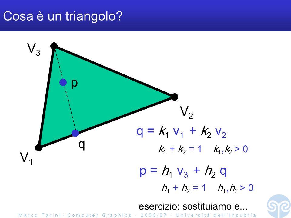 M a r c o T a r i n i C o m p u t e r G r a p h I c s 2 0 0 6 / 0 7 U n i v e r s i t à d e l l I n s u b r i a Attributi nel pipeline Frammenti & attributi interpolati Vertici & loro attributi pixel finali (nello screen-buffer) Vertici proiett & attributi computati rasterizer triangoli computazioni per frammento set- up rasterizer segmenti set- up rasterizer punti set- up computazioni per vertice rasterizer triangoli set- up associamo degli attributi ai vertici che mandiamo es: colore RGB qui gli attributi possono subire varie compuatzioni ogni frammento avrà una valore interpolato degli attributi per vertice qui gli attributi vengono interpolati