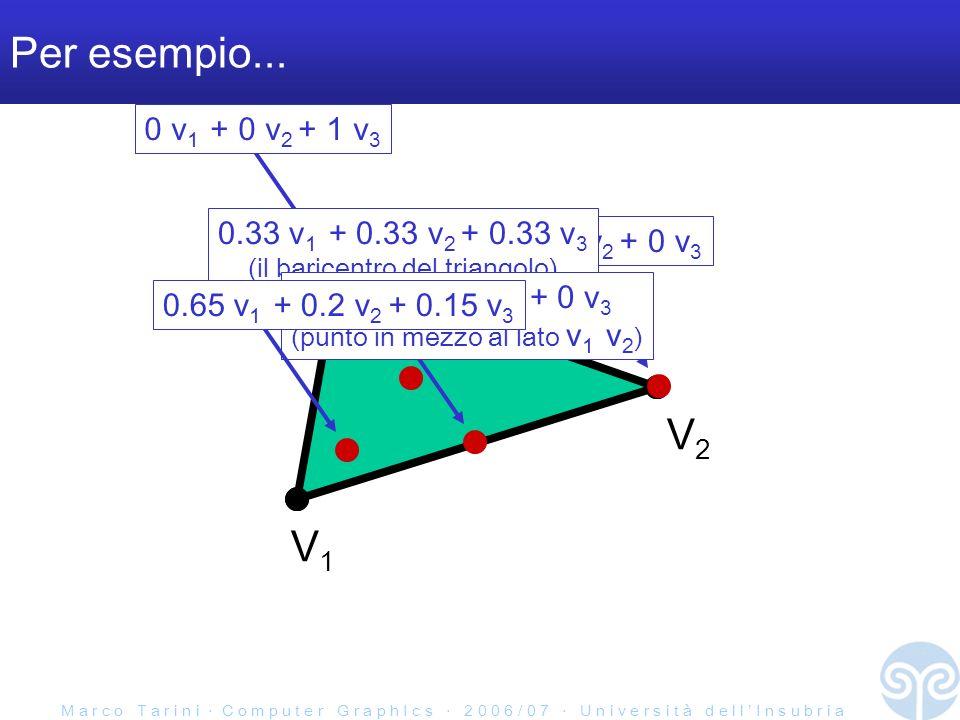 M a r c o T a r i n i C o m p u t e r G r a p h I c s 2 0 0 6 / 0 7 U n i v e r s i t à d e l l I n s u b r i a Per esempio... V1V1 V2V2 V3V3 0 v 1 +