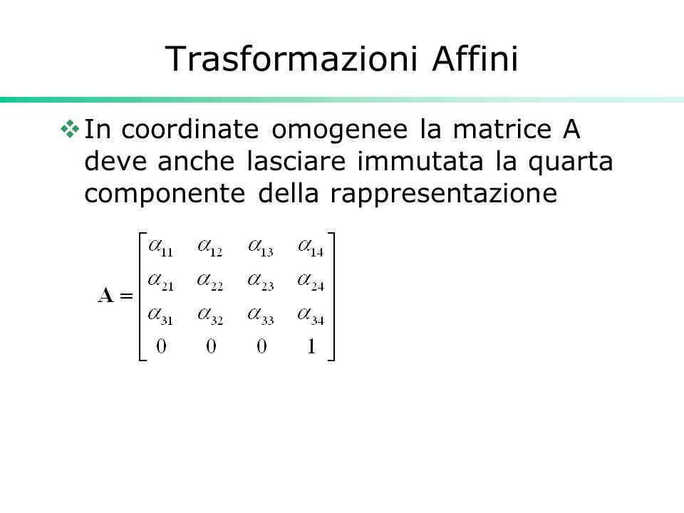Trasformazioni Affini In coordinate omogenee la matrice A deve anche lasciare immutata la quarta componente della rappresentazione
