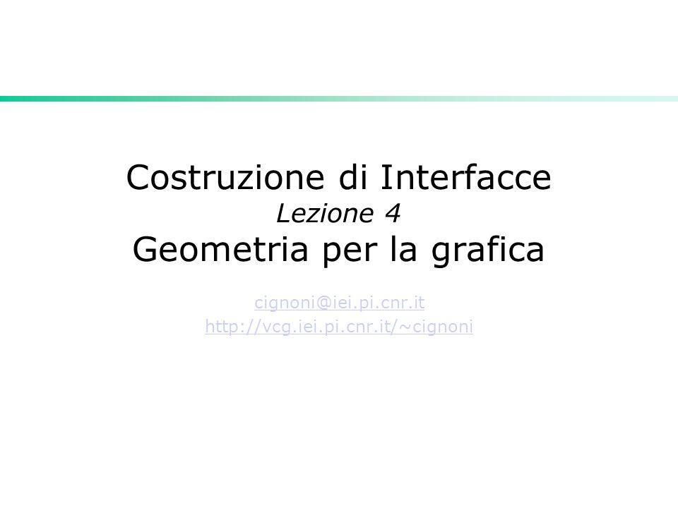 Introduzione Punti e vettori sono due cose diverse Basi e sistemi di riferimento (coordinate systems and frames) Coordinate omogenee Trasformazioni Affini