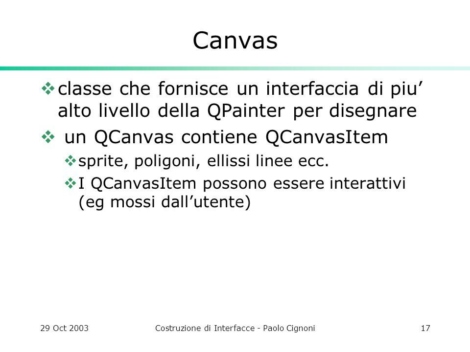 29 Oct 2003Costruzione di Interfacce - Paolo Cignoni17 Canvas classe che fornisce un interfaccia di piu alto livello della QPainter per disegnare un QCanvas contiene QCanvasItem sprite, poligoni, ellissi linee ecc.
