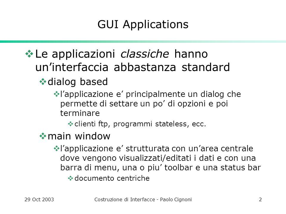 29 Oct 2003Costruzione di Interfacce - Paolo Cignoni13 MDI figli di QWorkspace possono essere widgets of qualunque tipo.