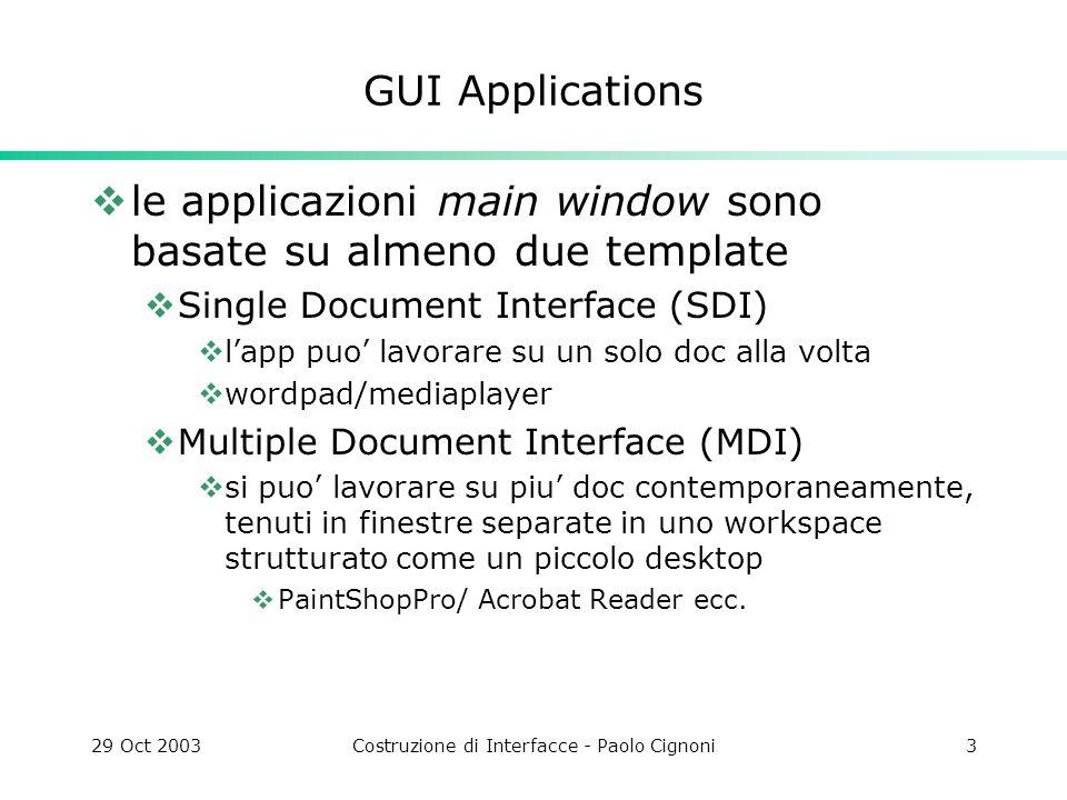 29 Oct 2003Costruzione di Interfacce - Paolo Cignoni4 QT supporta entrambi i generi di app.