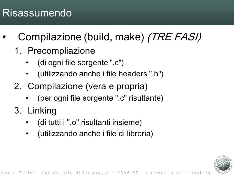 M a r c o T a r i n i L a b o r a t o r i o d i L i n g u a g g i 2 0 0 6 / 0 7 U n i v e r s i t à d e l l I n s u b r i a Risassumendo Compilazione (build, make) (TRE FASI) 1.Precompliazione (di ogni file sorgente .c ) (utilizzando anche i file headers .h ) 2.Compilazione (vera e propria) (per ogni file sorgente .c risultante) 3.Linking (di tutti i .o risultanti insieme) (utilizzando anche i file di libreria)