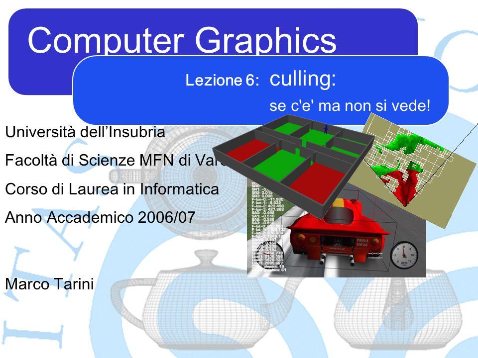 Computer Graphics Marco Tarini Università dellInsubria Facoltà di Scienze MFN di Varese Corso di Laurea in Informatica Anno Accademico 2006/07 Lezione 6: culling: se c e ma non si vede!