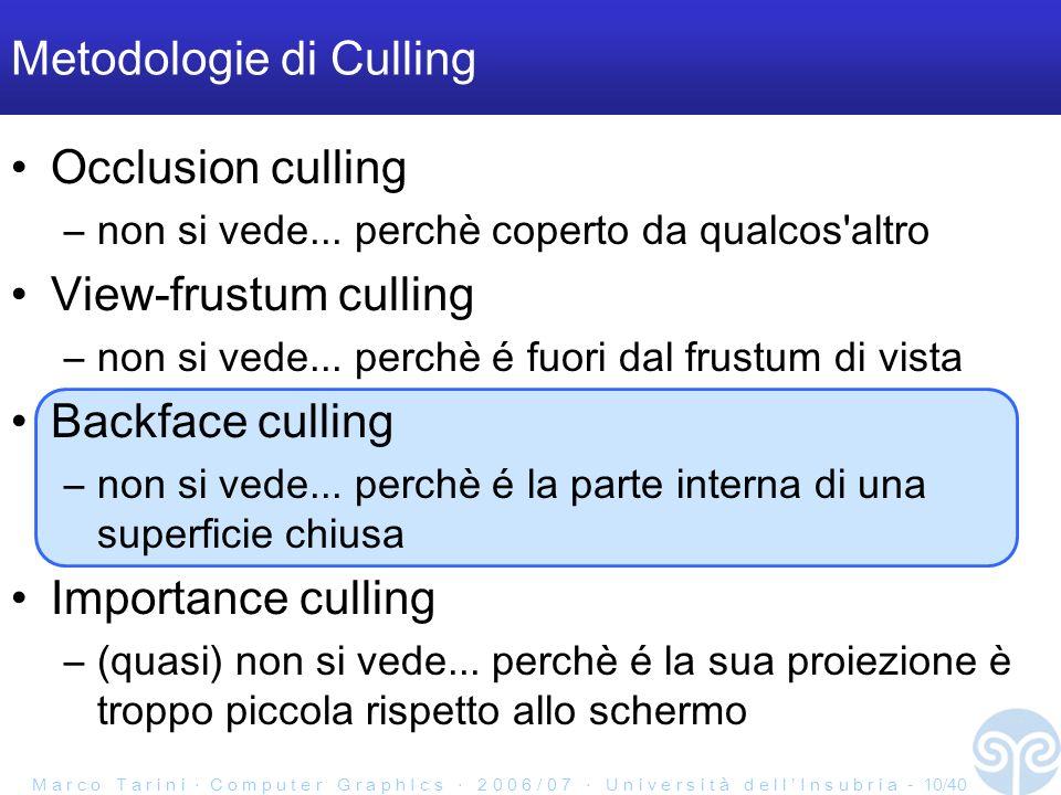 M a r c o T a r i n i C o m p u t e r G r a p h I c s 2 0 0 6 / 0 7 U n i v e r s i t à d e l l I n s u b r i a - 10/40 Metodologie di Culling Occlusion culling –non si vede...