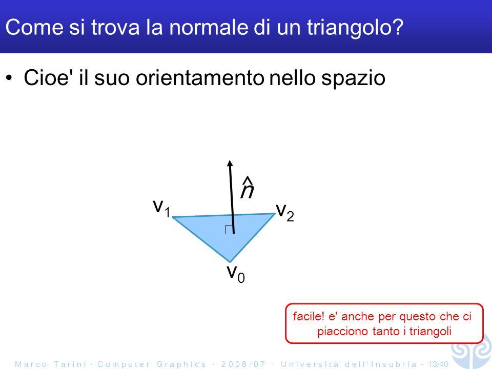 M a r c o T a r i n i C o m p u t e r G r a p h I c s 2 0 0 6 / 0 7 U n i v e r s i t à d e l l I n s u b r i a - 13/40 Come si trova la normale di un triangolo.