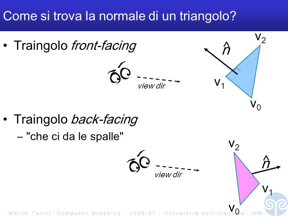 M a r c o T a r i n i C o m p u t e r G r a p h I c s 2 0 0 6 / 0 7 U n i v e r s i t à d e l l I n s u b r i a - 14/40 Come si trova la normale di un triangolo.