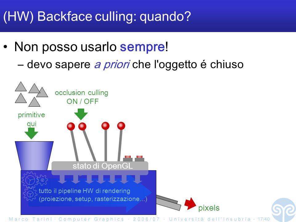 M a r c o T a r i n i C o m p u t e r G r a p h I c s 2 0 0 6 / 0 7 U n i v e r s i t à d e l l I n s u b r i a - 17/40 (HW) Backface culling: quando.