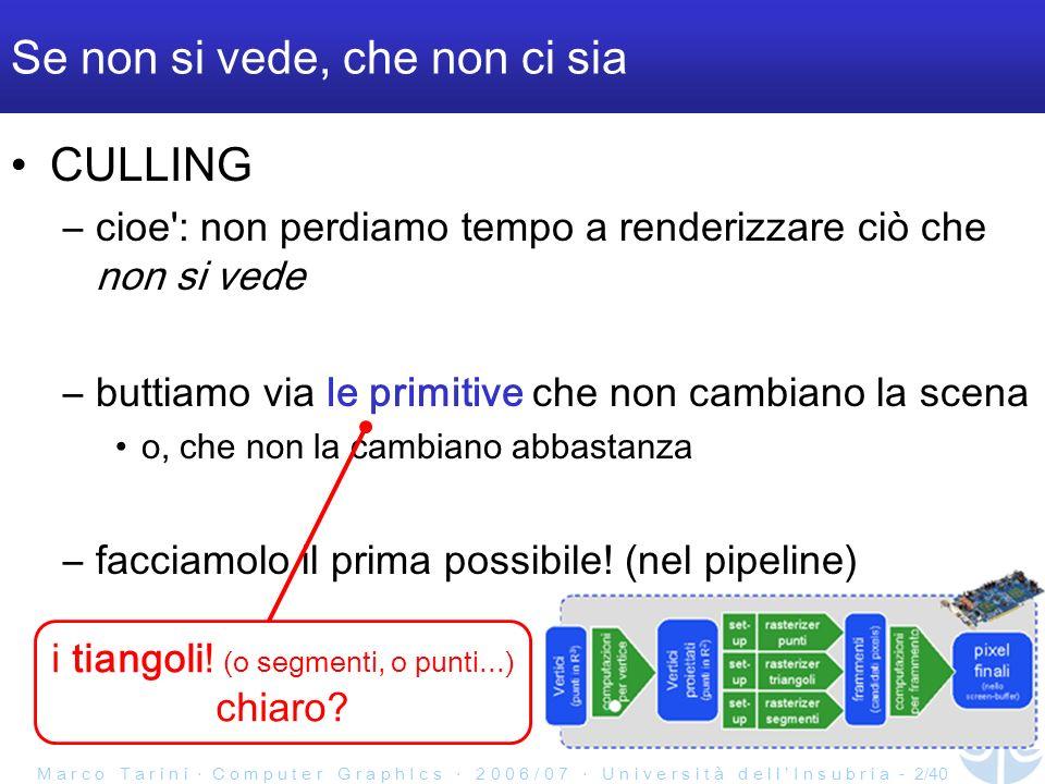 M a r c o T a r i n i C o m p u t e r G r a p h I c s 2 0 0 6 / 0 7 U n i v e r s i t à d e l l I n s u b r i a - 3/40 Notazione Lo chiamiamo culling se si scartano primitive intere –o interi gruppi di primive Se una primitiva viene spezzata in una parte visibile e una no, lo chiamiamo clipping Se e un frammento ad essere scartato, si tratta di testing per frammento quale ci fa piu gola?