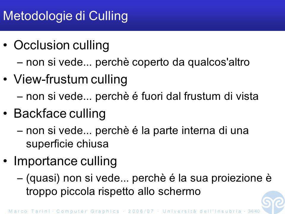 M a r c o T a r i n i C o m p u t e r G r a p h I c s 2 0 0 6 / 0 7 U n i v e r s i t à d e l l I n s u b r i a - 34/40 Metodologie di Culling Occlusion culling –non si vede...