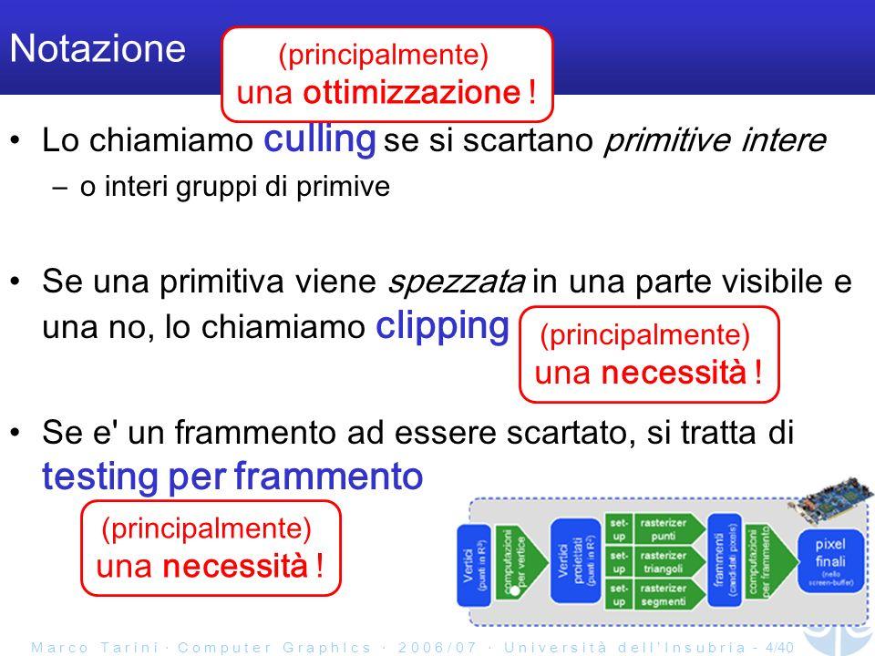 M a r c o T a r i n i C o m p u t e r G r a p h I c s 2 0 0 6 / 0 7 U n i v e r s i t à d e l l I n s u b r i a - 4/40 Notazione Lo chiamiamo culling se si scartano primitive intere –o interi gruppi di primive Se una primitiva viene spezzata in una parte visibile e una no, lo chiamiamo clipping Se e un frammento ad essere scartato, si tratta di testing per frammento (principalmente) una ottimizzazione .