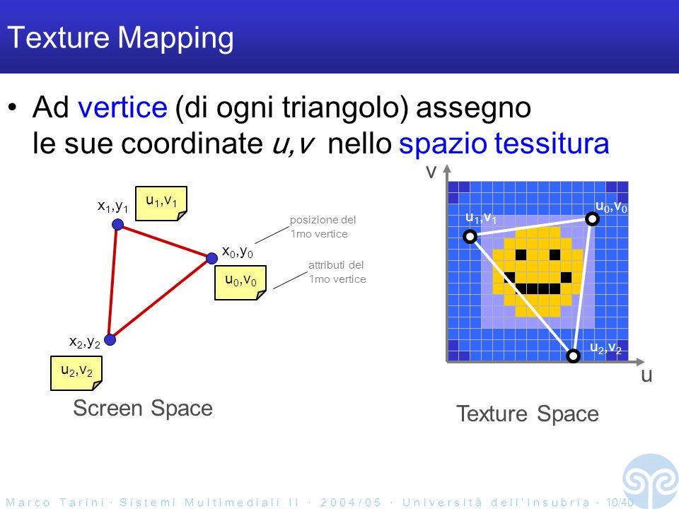 M a r c o T a r i n i S i s t e m i M u l t i m e d i a l i I I 2 0 0 4 / 0 5 U n i v e r s i t à d e l l I n s u b r i a - 10/40 Texture Mapping Ad vertice (di ogni triangolo) assegno le sue coordinate u,v nello spazio tessitura Screen Space x 0,y 0 x 2,y 2 x 1,y 1 u 0,v 0 u 1,v 1 u 2,v 2 posizione del 1mo vertice attributi del 1mo vertice u 0,v 0 u 1,v 1 u 2,v 2