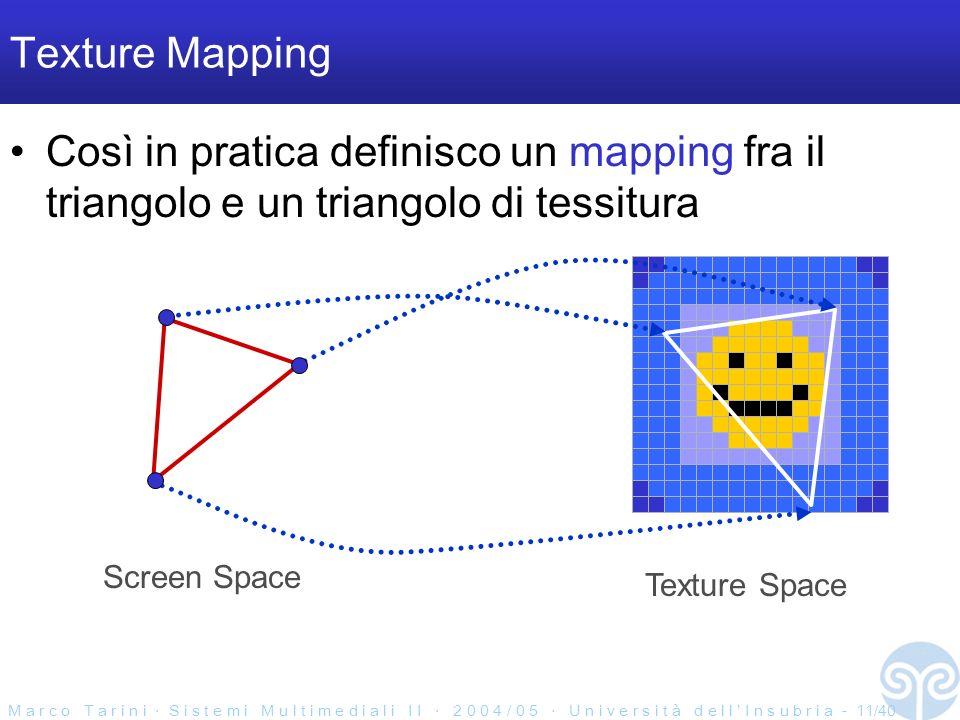 M a r c o T a r i n i S i s t e m i M u l t i m e d i a l i I I 2 0 0 4 / 0 5 U n i v e r s i t à d e l l I n s u b r i a - 11/40 Texture Mapping Così in pratica definisco un mapping fra il triangolo e un triangolo di tessitura Texture Space Screen Space