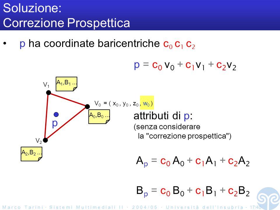 M a r c o T a r i n i S i s t e m i M u l t i m e d i a l i I I 2 0 0 4 / 0 5 U n i v e r s i t à d e l l I n s u b r i a - 17/40 Soluzione: Correzione Prospettica p ha coordinate baricentriche c 0 c 1 c 2 V0V0 V2V2 V1V1 A 0,B 0...