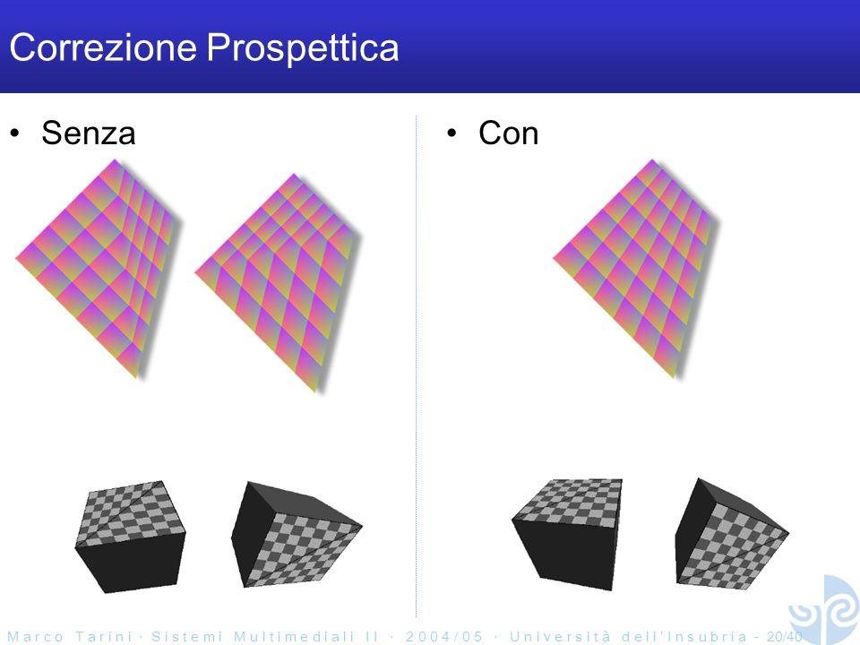 M a r c o T a r i n i S i s t e m i M u l t i m e d i a l i I I 2 0 0 4 / 0 5 U n i v e r s i t à d e l l I n s u b r i a - 20/40 Correzione Prospettica SenzaCon