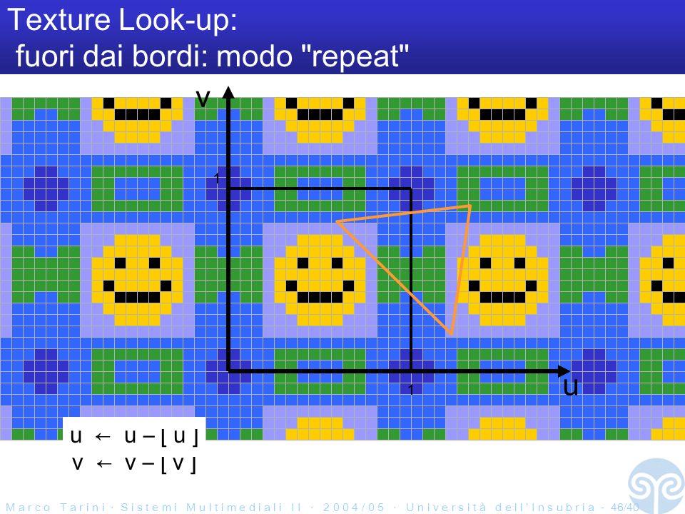 M a r c o T a r i n i S i s t e m i M u l t i m e d i a l i I I 2 0 0 4 / 0 5 U n i v e r s i t à d e l l I n s u b r i a - 46/40 Texture Look-up: fuori dai bordi: modo repeat u v 1 1 u u – [ u ] v v – [ v ]