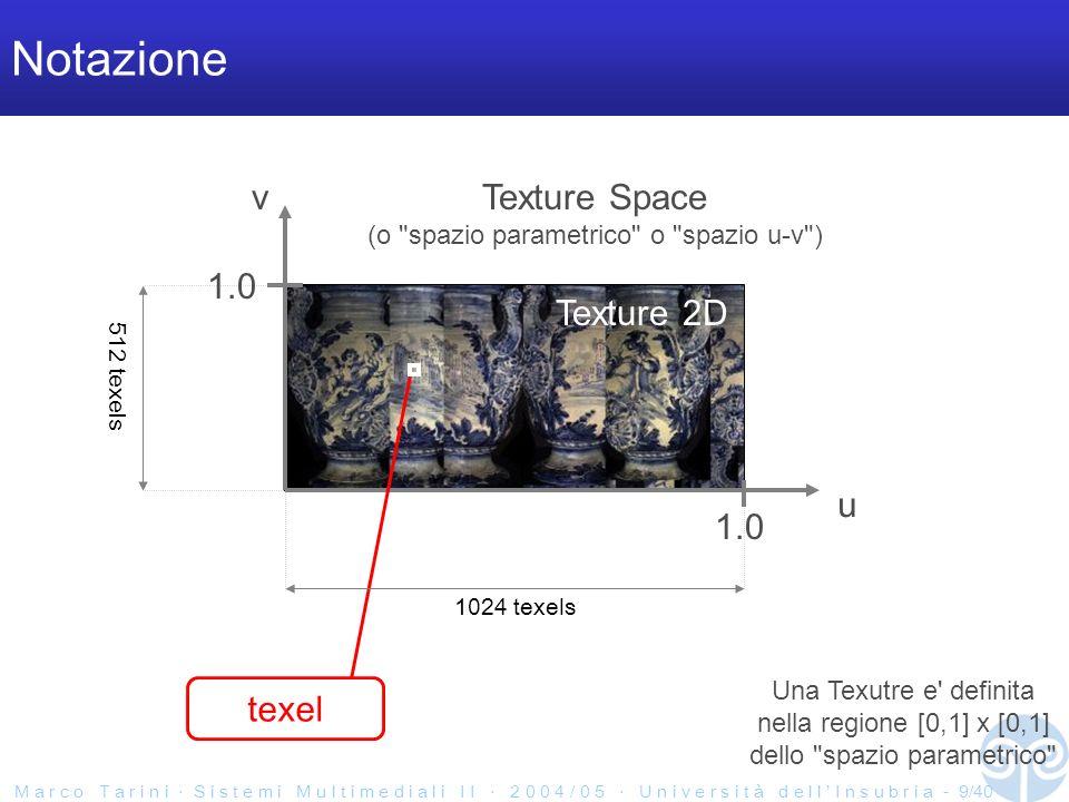 M a r c o T a r i n i S i s t e m i M u l t i m e d i a l i I I 2 0 0 4 / 0 5 U n i v e r s i t à d e l l I n s u b r i a - 9/40 Notazione Texture 2D u v texel Texture Space (o spazio parametrico o spazio u-v ) Una Texutre e definita nella regione [0,1] x [0,1] dello spazio parametrico 512 texels 1024 texels 1.0