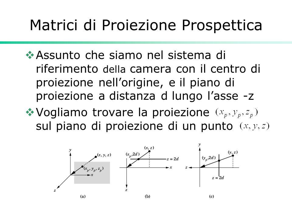 Matrici di Proiezione Prospettica Assunto che siamo nel sistema di riferimento della camera con il centro di proiezione nellorigine, e il piano di proiezione a distanza d lungo lasse -z Vogliamo trovare la proiezione sul piano di proiezione di un punto