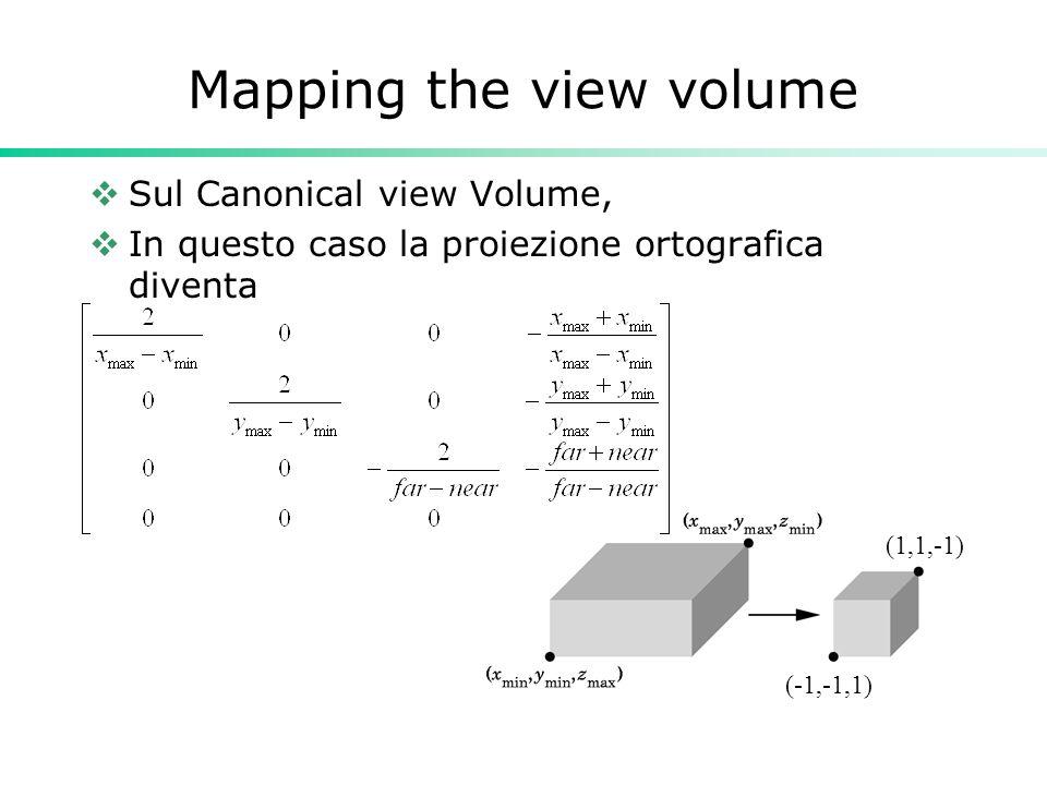 Mapping the view volume Sul Canonical view Volume, In questo caso la proiezione ortografica diventa (1,1,-1) (-1,-1,1)