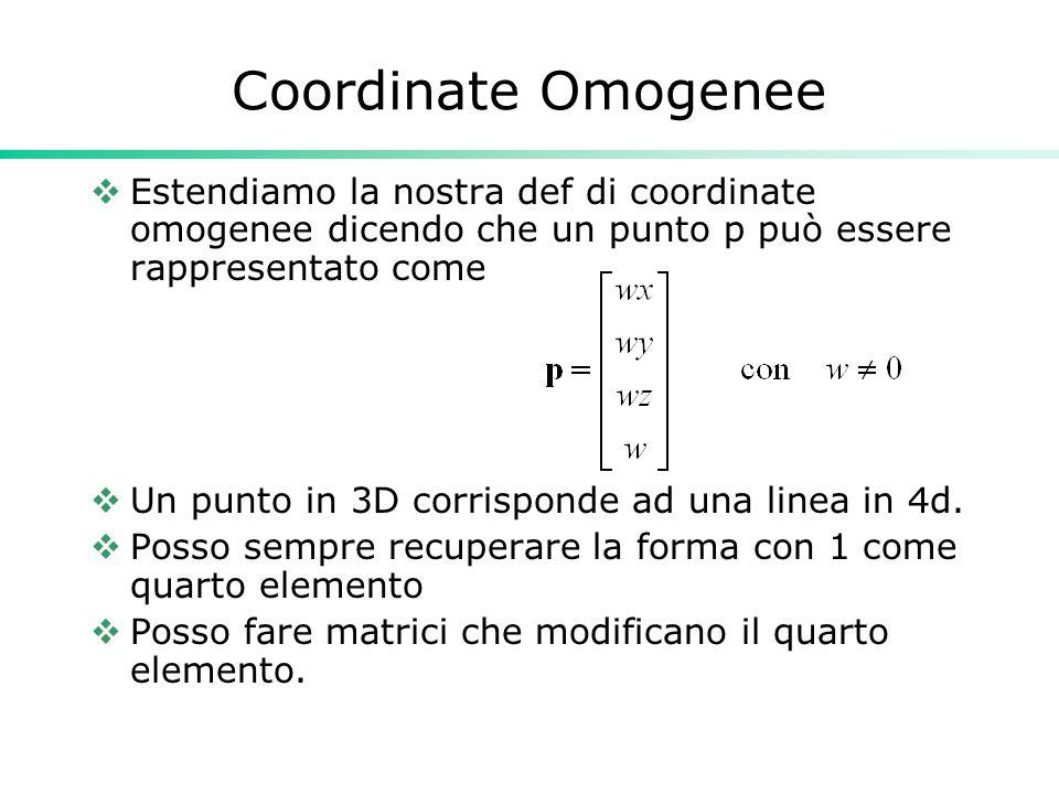 Coordinate Omogenee Estendiamo la nostra def di coordinate omogenee dicendo che un punto p può essere rappresentato come Un punto in 3D corrisponde ad una linea in 4d.