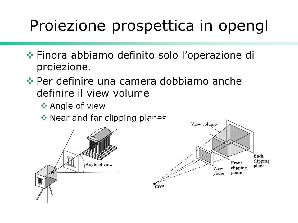 Proiezione prospettica in opengl Finora abbiamo definito solo loperazione di proiezione.