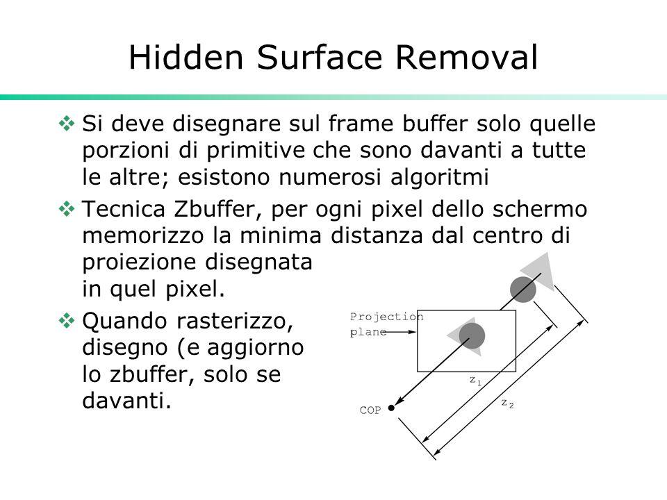 Hidden Surface Removal Si deve disegnare sul frame buffer solo quelle porzioni di primitive che sono davanti a tutte le altre; esistono numerosi algoritmi Tecnica Zbuffer, per ogni pixel dello schermo memorizzo la minima distanza dal centro di proiezione disegnata in quel pixel.