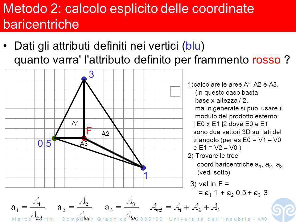 M a r c o T a r i n i C o m p u t e r G r a p h i c s 2 0 0 5 / 0 6 U n i v e r s i t à d e l l I n s u b r i a - 5/40 Esercizio Rasterizzazione 2: correzione prospettica Dati gli attributi definiti nei vertici (blu) e le coordinate affini dei vertici (verdi) quanto varra l attributo definito per frammento rosso .