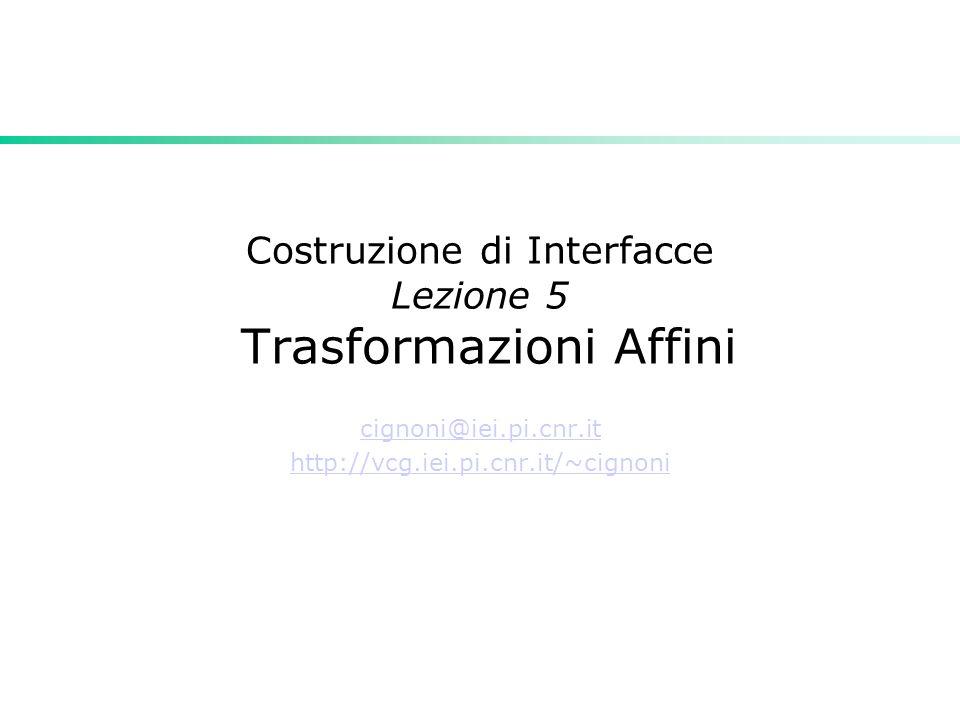Costruzione di Interfacce Lezione 5 Trasformazioni Affini cignoni@iei.pi.cnr.it http://vcg.iei.pi.cnr.it/~cignoni