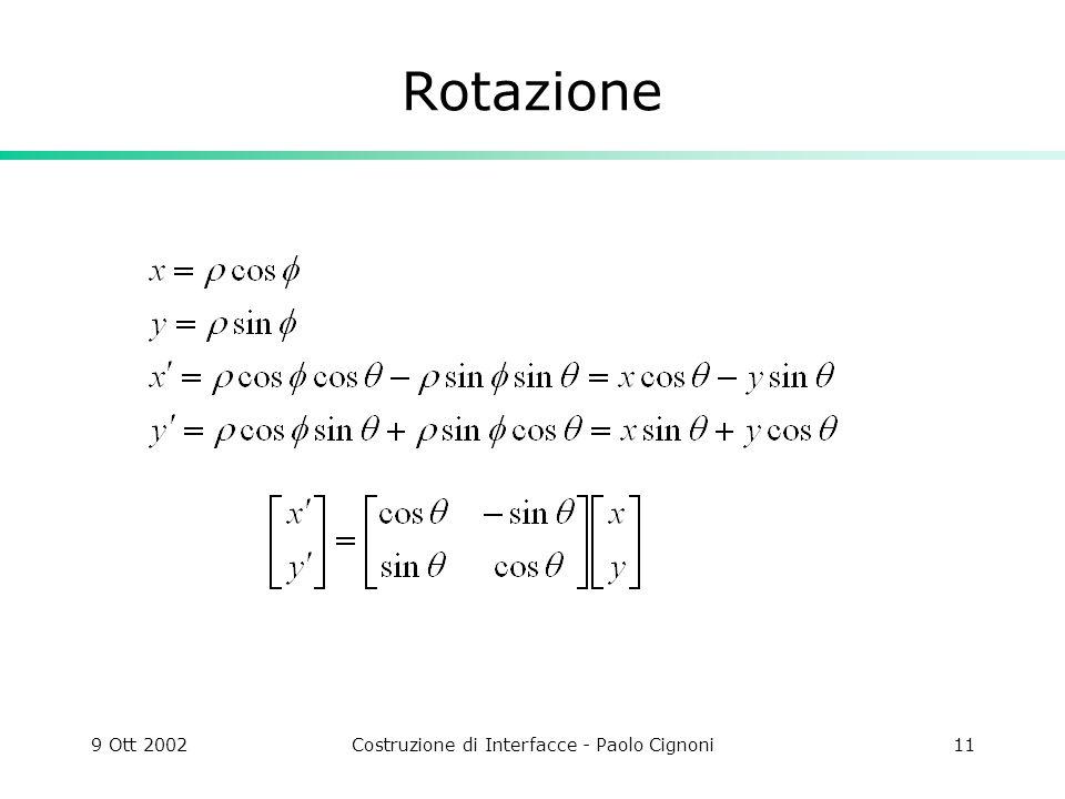 9 Ott 2002Costruzione di Interfacce - Paolo Cignoni11 Rotazione