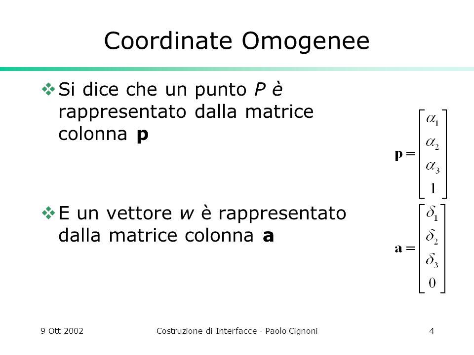 9 Ott 2002Costruzione di Interfacce - Paolo Cignoni4 Coordinate Omogenee Si dice che un punto P è rappresentato dalla matrice colonna p E un vettore w è rappresentato dalla matrice colonna a