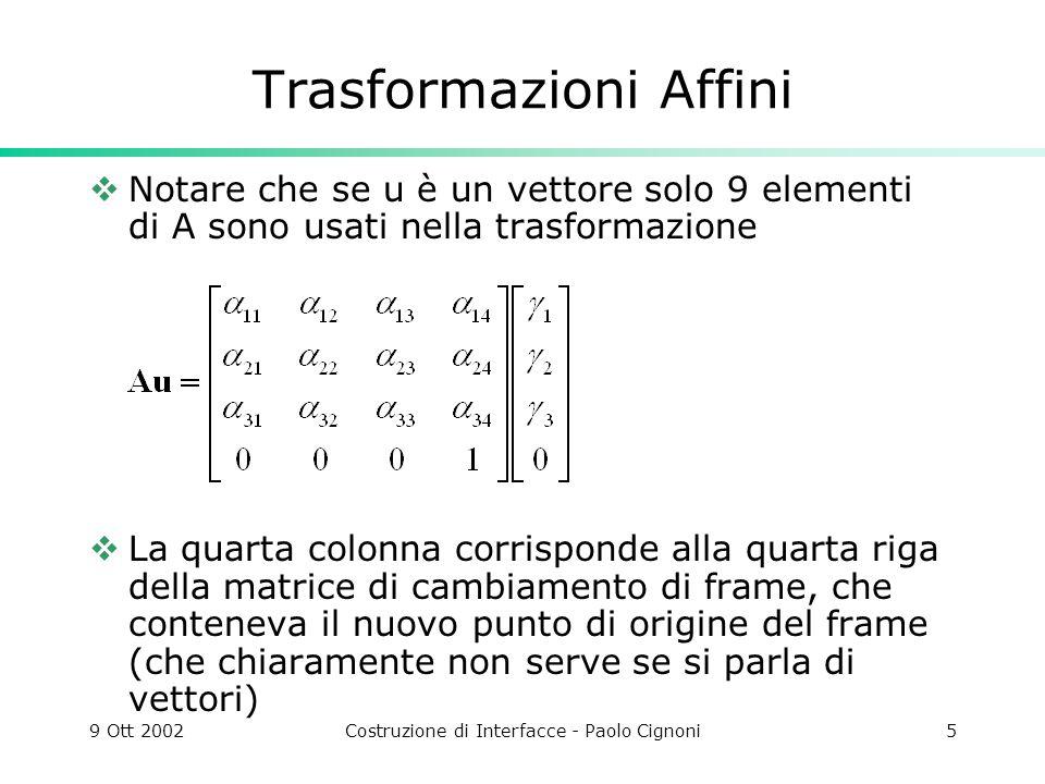9 Ott 2002Costruzione di Interfacce - Paolo Cignoni5 Trasformazioni Affini Notare che se u è un vettore solo 9 elementi di A sono usati nella trasform