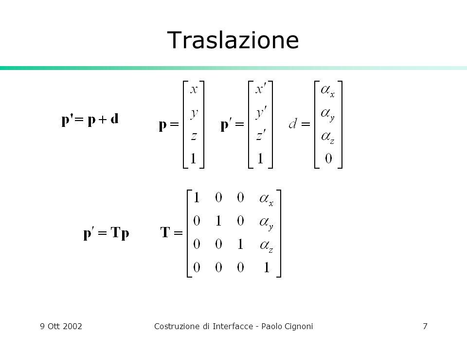9 Ott 2002Costruzione di Interfacce - Paolo Cignoni7 Traslazione