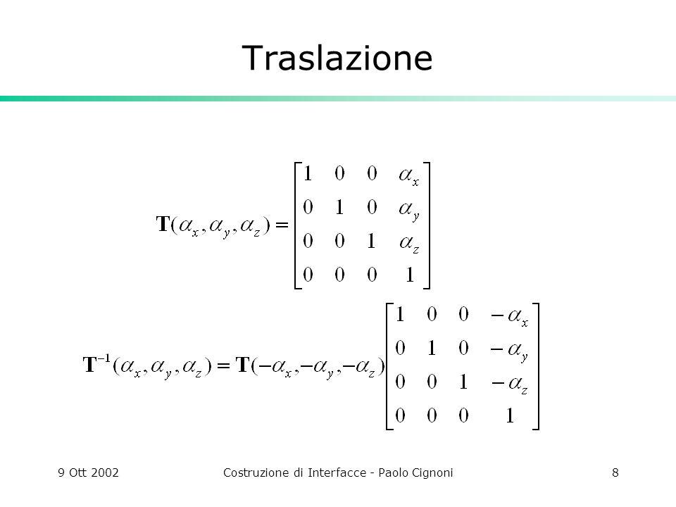 9 Ott 2002Costruzione di Interfacce - Paolo Cignoni8 Traslazione