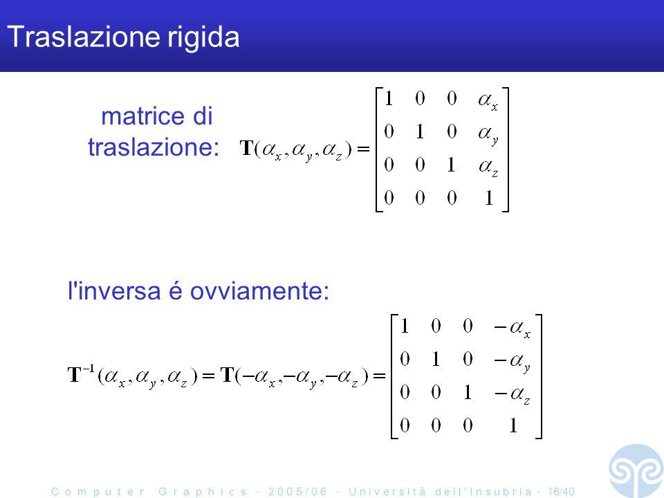 C o m p u t e r G r a p h i c s 2 0 0 5 / 0 6 U n i v e r s i t à d e l l I n s u b r i a - 16/40 Traslazione rigida l inversa é ovviamente: matrice di traslazione: