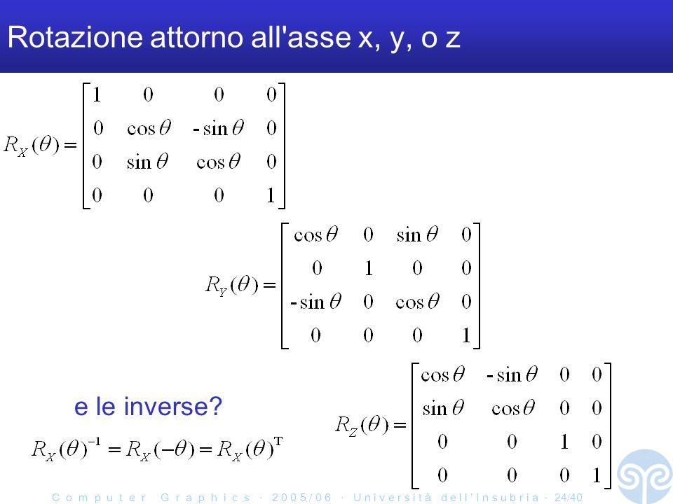 C o m p u t e r G r a p h i c s 2 0 0 5 / 0 6 U n i v e r s i t à d e l l I n s u b r i a - 24/40 Rotazione attorno all asse x, y, o z e le inverse