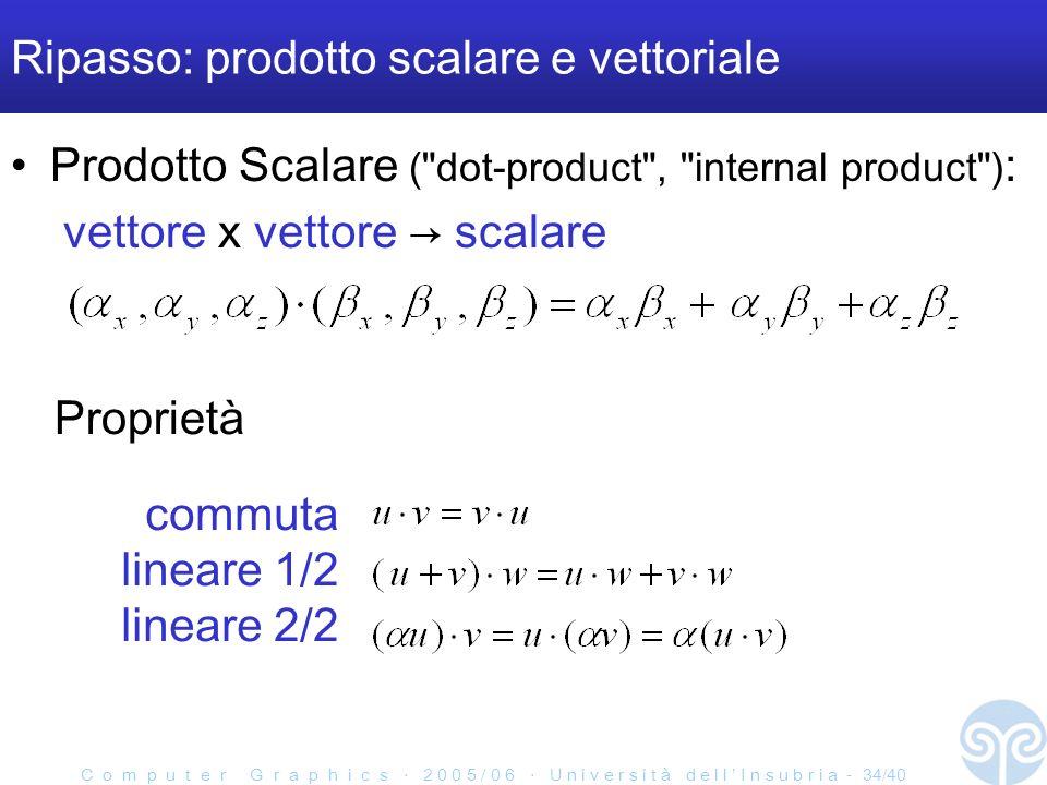 C o m p u t e r G r a p h i c s 2 0 0 5 / 0 6 U n i v e r s i t à d e l l I n s u b r i a - 34/40 Ripasso: prodotto scalare e vettoriale Prodotto Scalare ( dot-product , internal product ) : vettore x vettore scalare commuta lineare 1/2 lineare 2/2 Proprietà