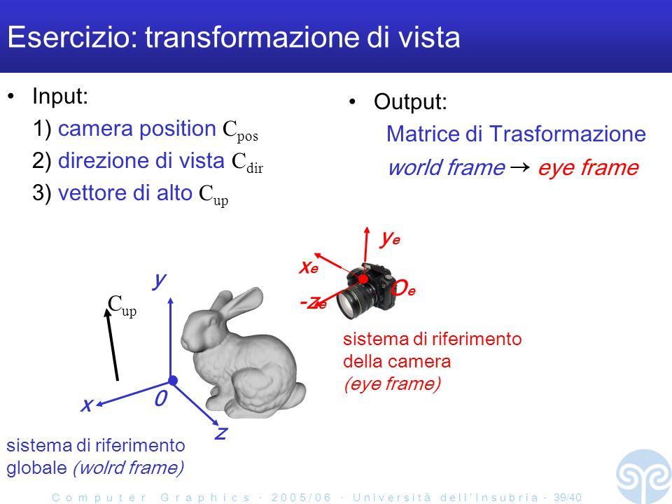 C o m p u t e r G r a p h i c s 2 0 0 5 / 0 6 U n i v e r s i t à d e l l I n s u b r i a - 39/40 Input: 1) camera position C pos 2) direzione di vista C dir 3) vettore di alto C up Esercizio: transformazione di vista sistema di riferimento della camera (eye frame) yeye xexe -z e OeOe y z x 0 sistema di riferimento globale (wolrd frame) Output: Matrice di Trasformazione world frame eye frame C up